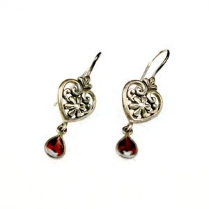 Garnet Heart Earrings - 925 Sterling Silver